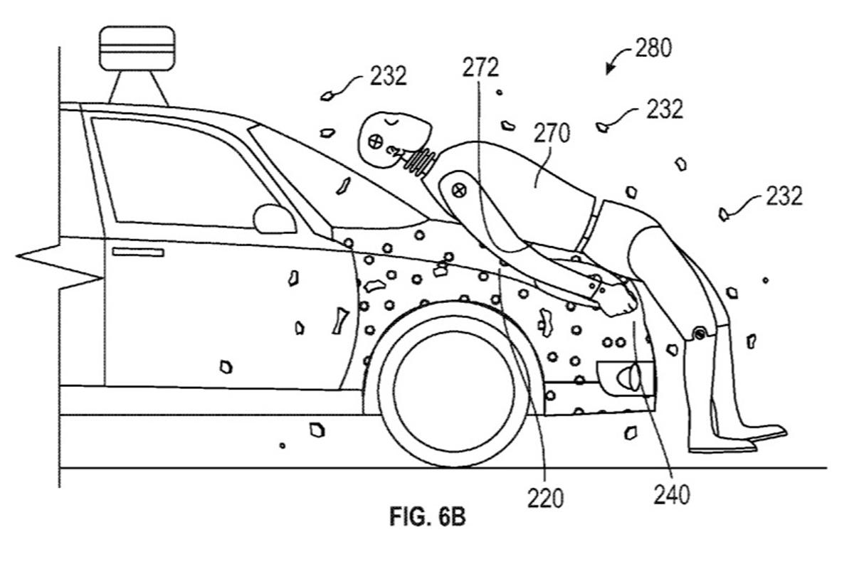 Google has received a patent for a safety system which glues pedestrians to the front of a car after an accident, to avoid further injury from being thrown onto the road