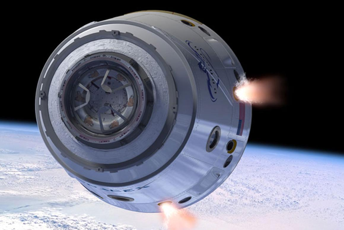 Artists image of the Dragon spacecraft in orbit (Image: SpaceX)