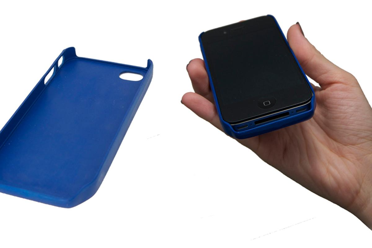 The dB4 case redirects sound from the iPhone's speaker towards the listener