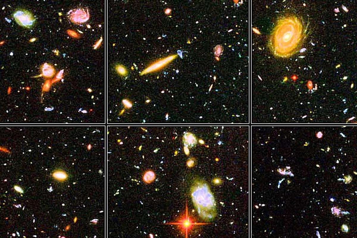"""Vignettes from the Hubble Ultra Deep Field image. """"Space is big. You just won't believe how vastly, hugely, mind-bogglingly big it is. I mean, you may think it's a long way down the road to the chemist's, but that's just peanuts to space."""" (Douglas Adams, The Hitchhiker's Guide to the Galaxy.)"""