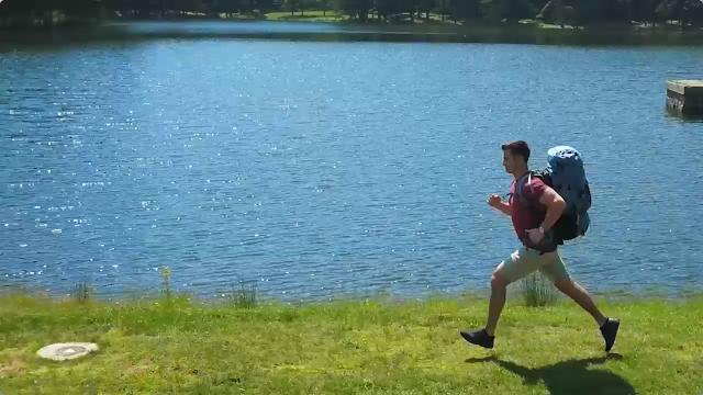 HoverGlide backpack: bounces up and down to cancel out your vertical motion as you walk or run