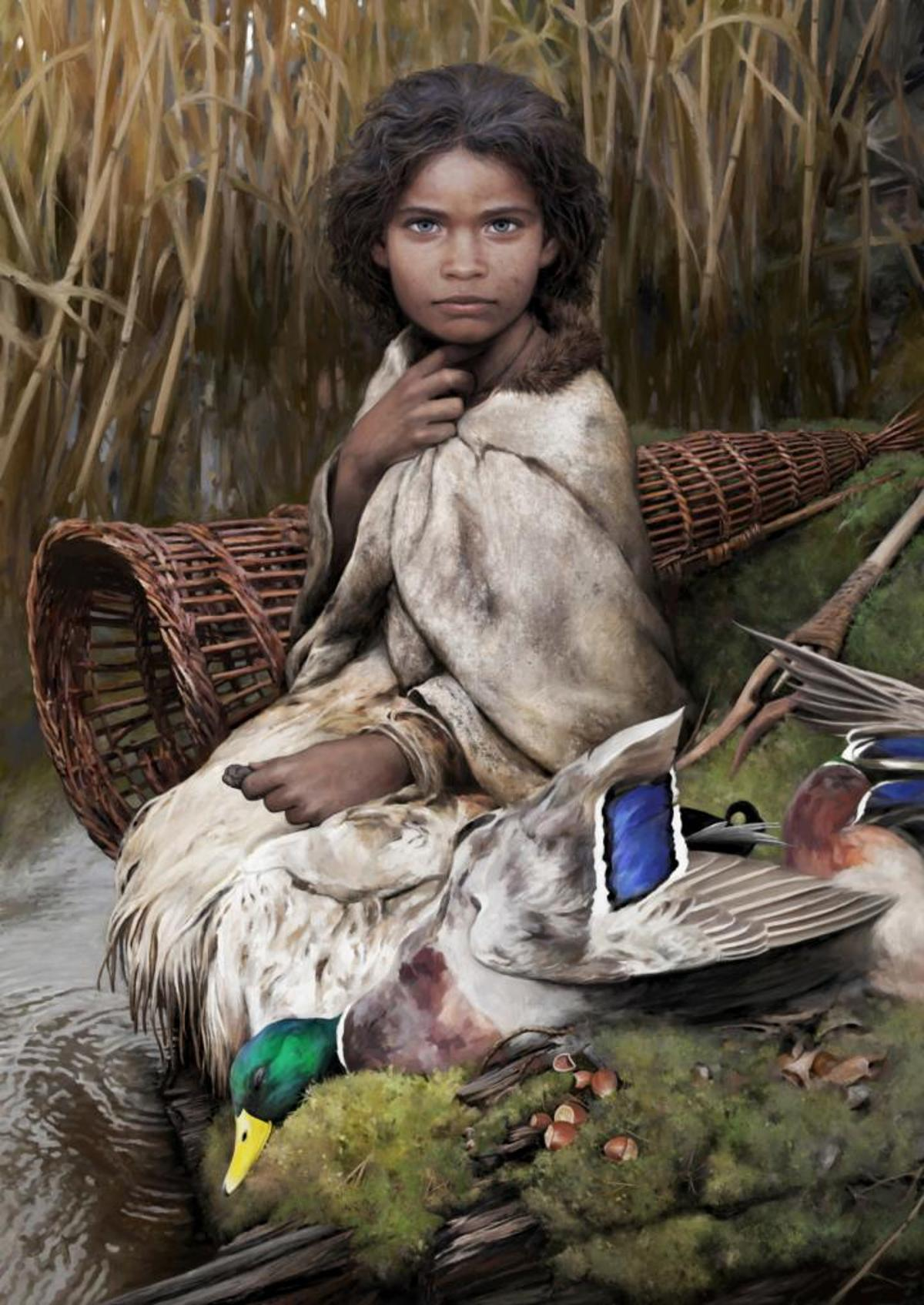 A reconstruction of the ancient female, based on DNA extracted from ancient birch pitch