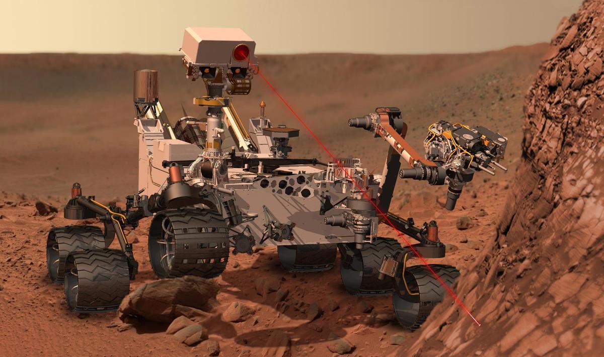 Artist's concept of Curiosity using laser (Image: NASA)