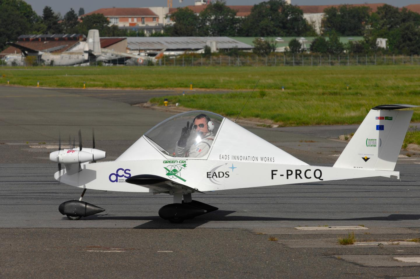 Pilot Didier Esteyne readies the Green Cri for its maiden flight above Le Bourget airfield in Paris