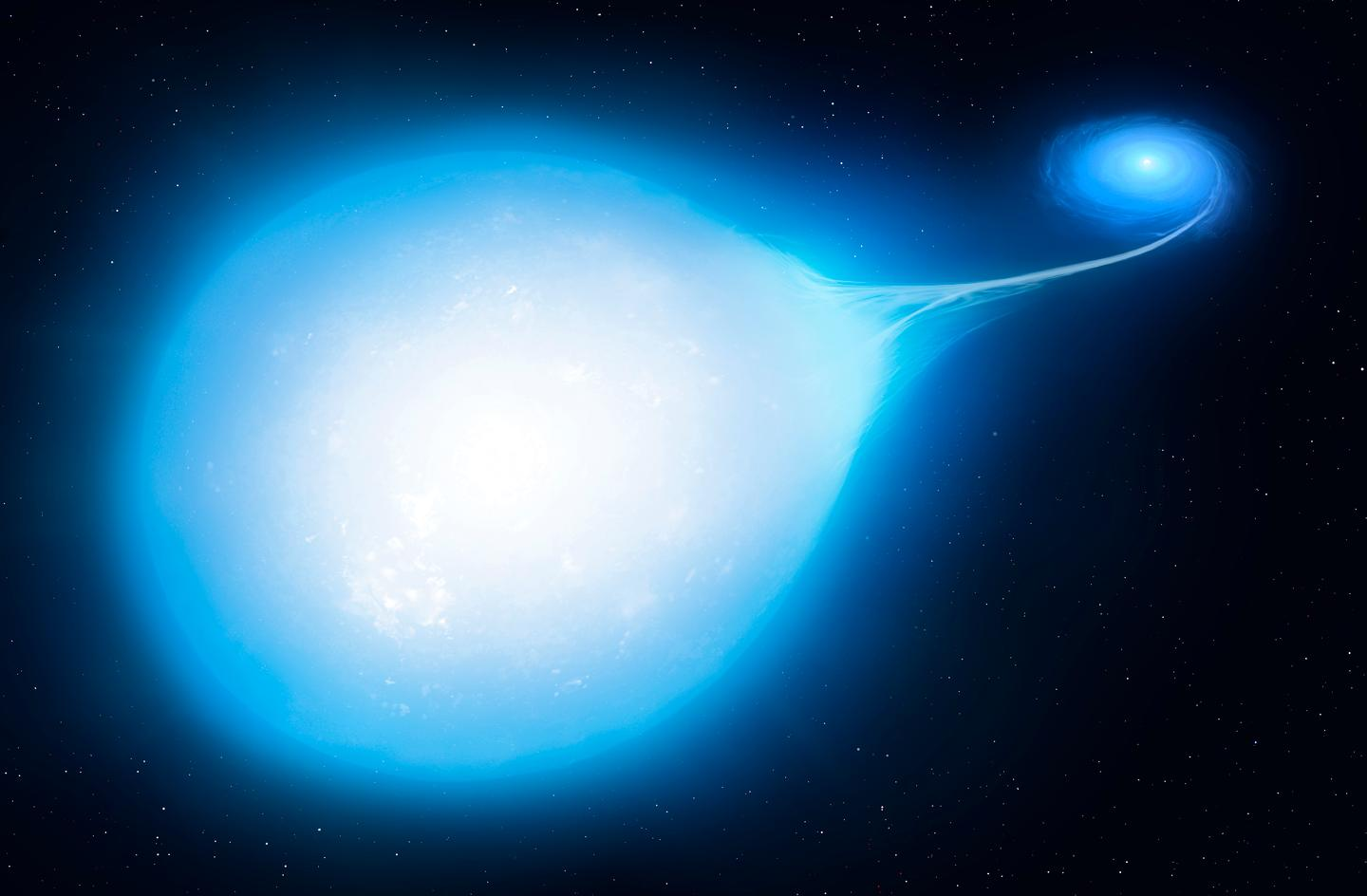 An artist's illustration of a hot subdwarf star being stretched into a teardrop shape by a nearby white dwarf – which will eventually spell doom for both of them