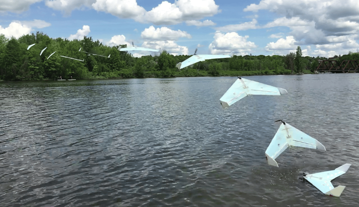 The team says its SUWAVE drone could travel across Canada by hopping between its lakes to charge its batteries