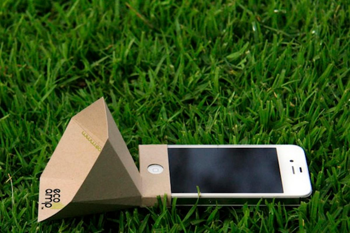 The eco-amp is made from 100 percent recycled post-consumer paper
