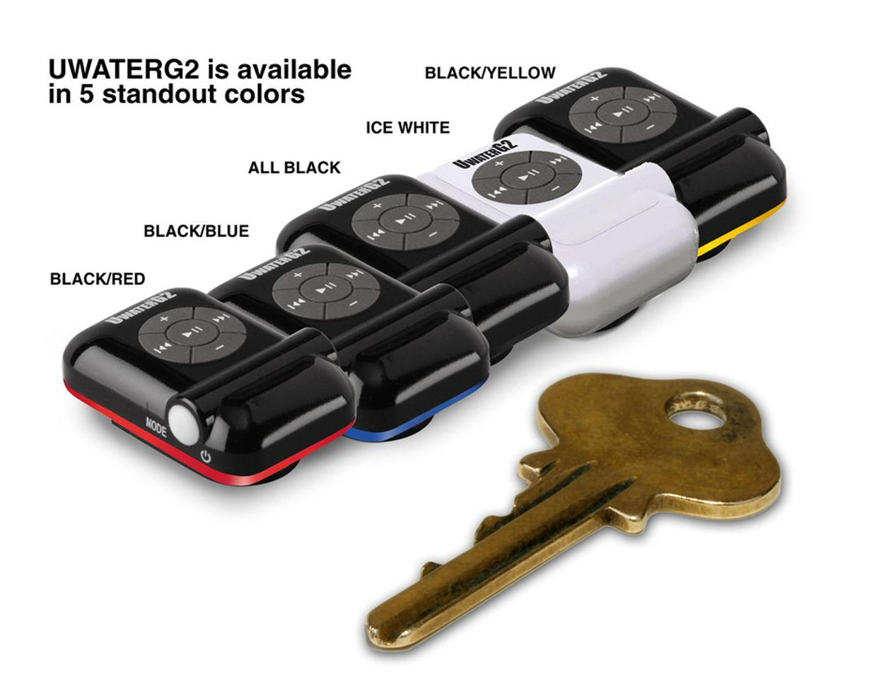The tiny UWaterG2 waterproof MP3 player is available in five color combinations