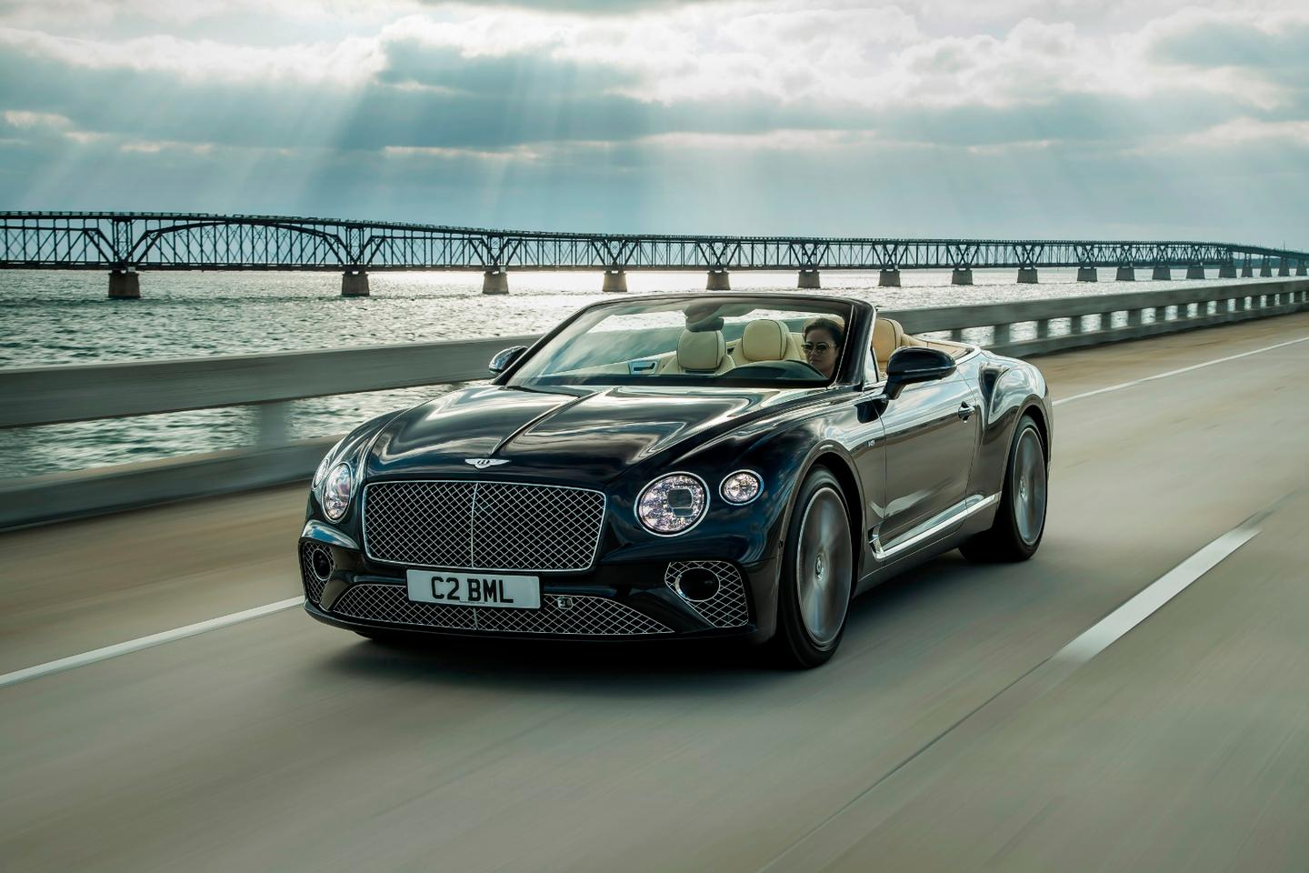 The Continental GT V8 Convertible on the road