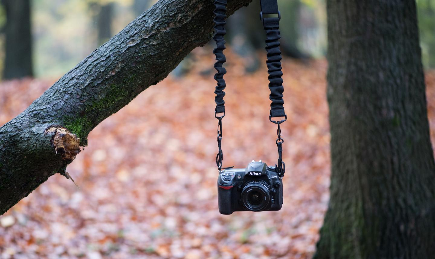 The Boomr camera strap uses an internal bungee cord system to maximize comfort