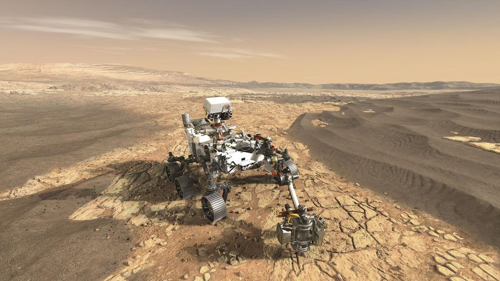 An artist's rendering of the Mars 2020 rover on the surface of the Red Planet