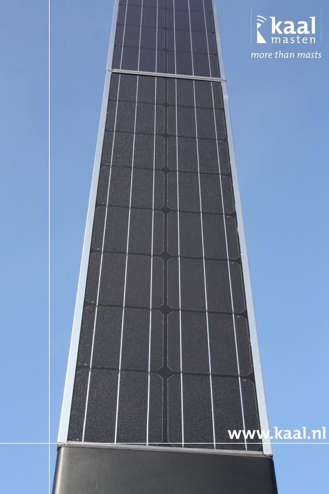 A close look at the solar panels of the Spirit Solar Powered Lighting Column