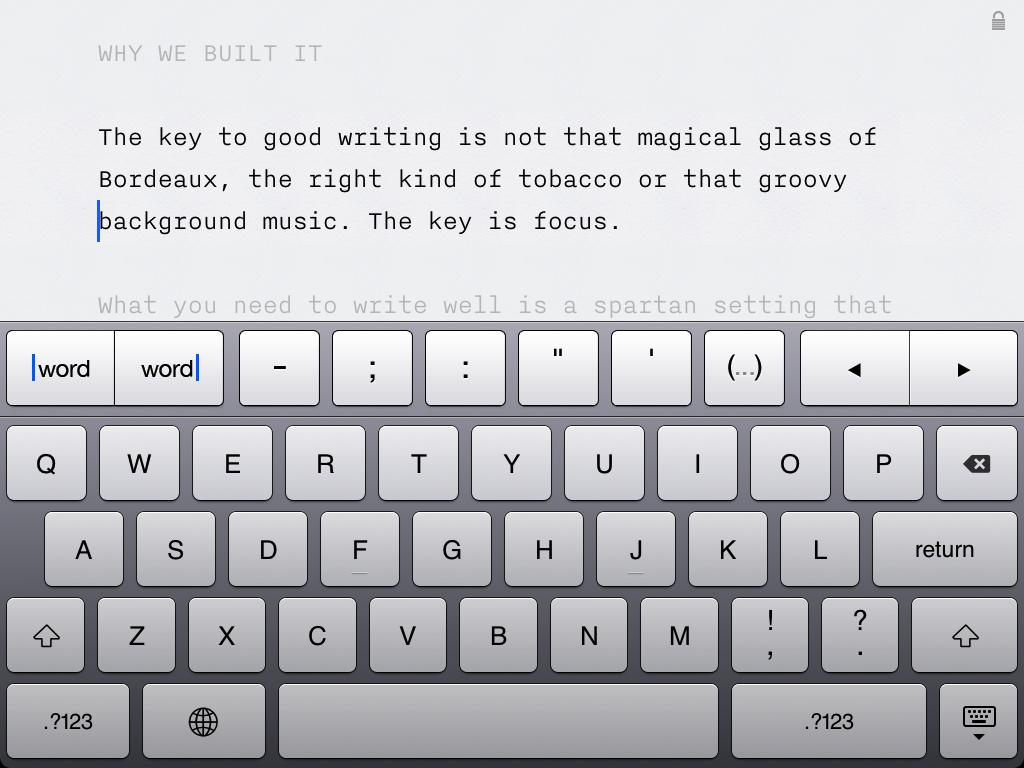 The distraction-free Writer for iPad interface