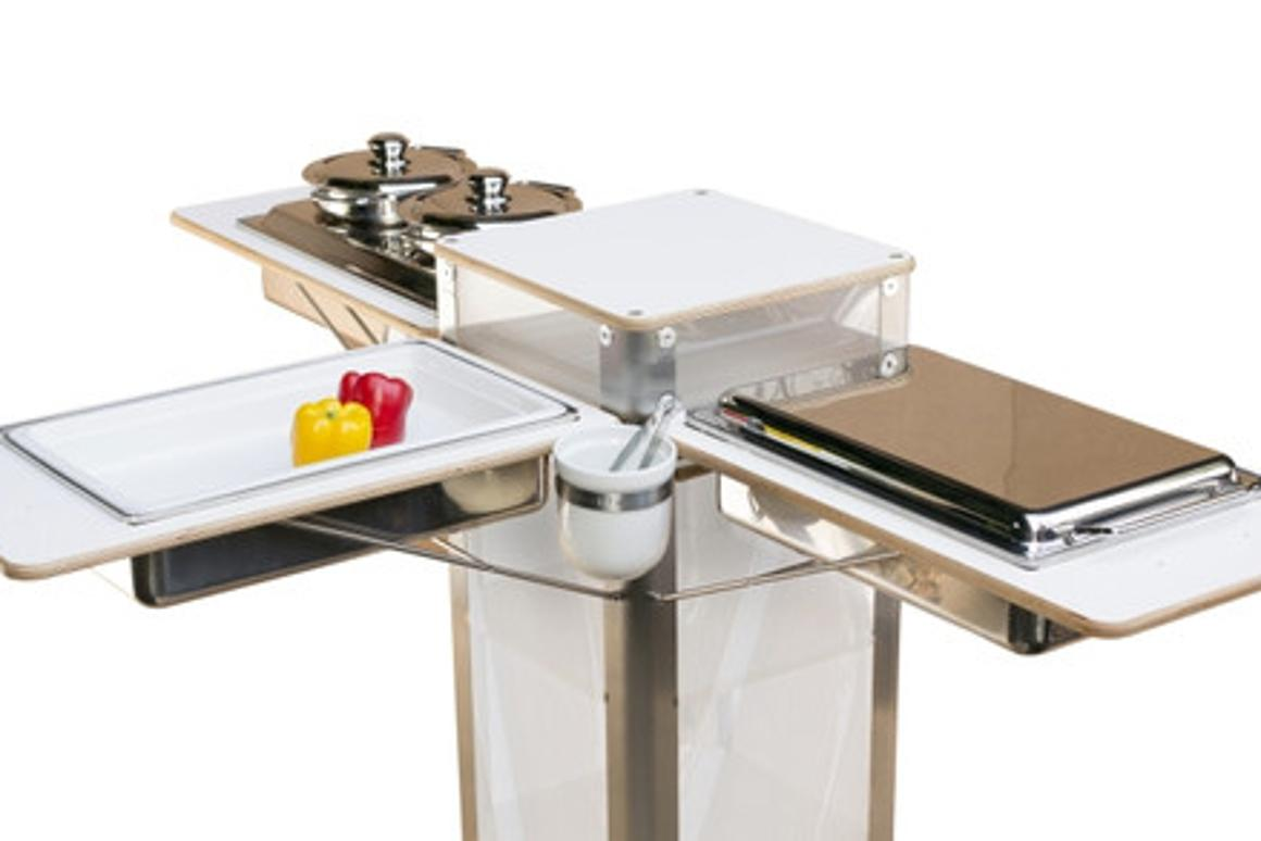 "The flix Live portable kitchen features folding ""wings"" on three sides"