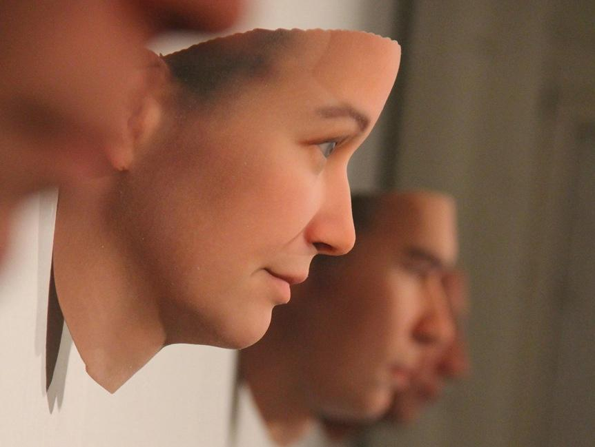 One of the 3D printed faces reconstructed from DNA found on the street inHeather Dewey-Hagborg's Stranger Visions