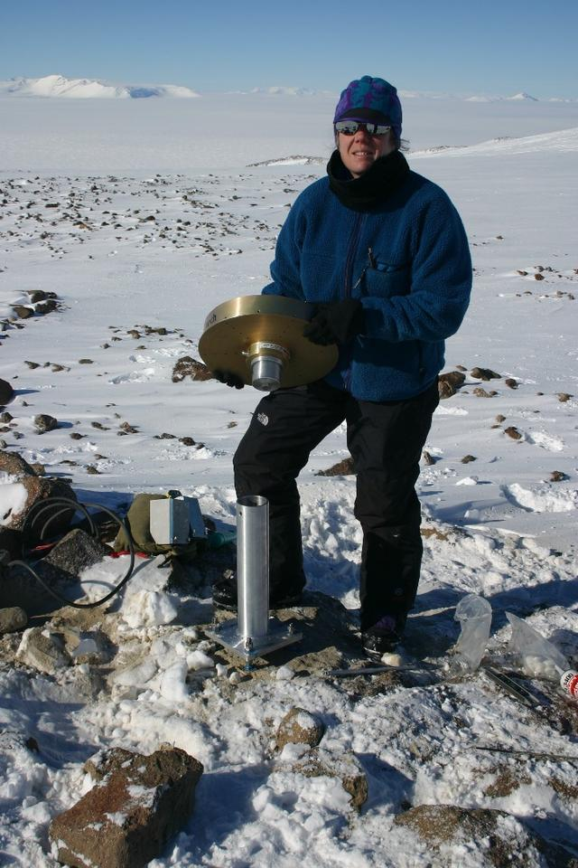 Lead author Terry Wilson with a GPS station used in the new study to determine the rate that the bedrock is rising