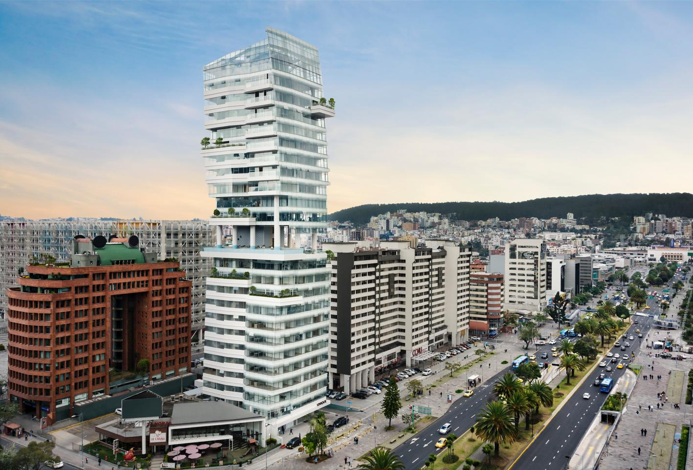 The Unique tower is defined by its three-story gap roughly at its center, which creates an open-air space for residents to relax and socialize