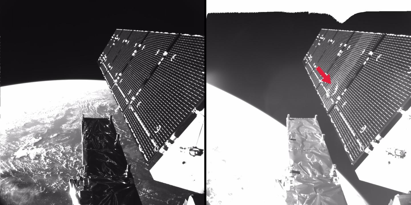 Before and after shot of Sentinel-1A's solar array, with a red arrow indicating the impact site