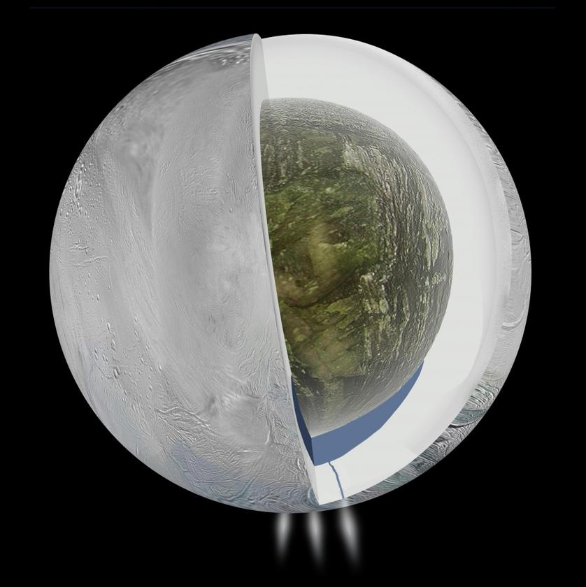 A cross section of Enceladus, with the subsurface sea depicted at the southern pole (Image: NASA/JPL-Caltech)