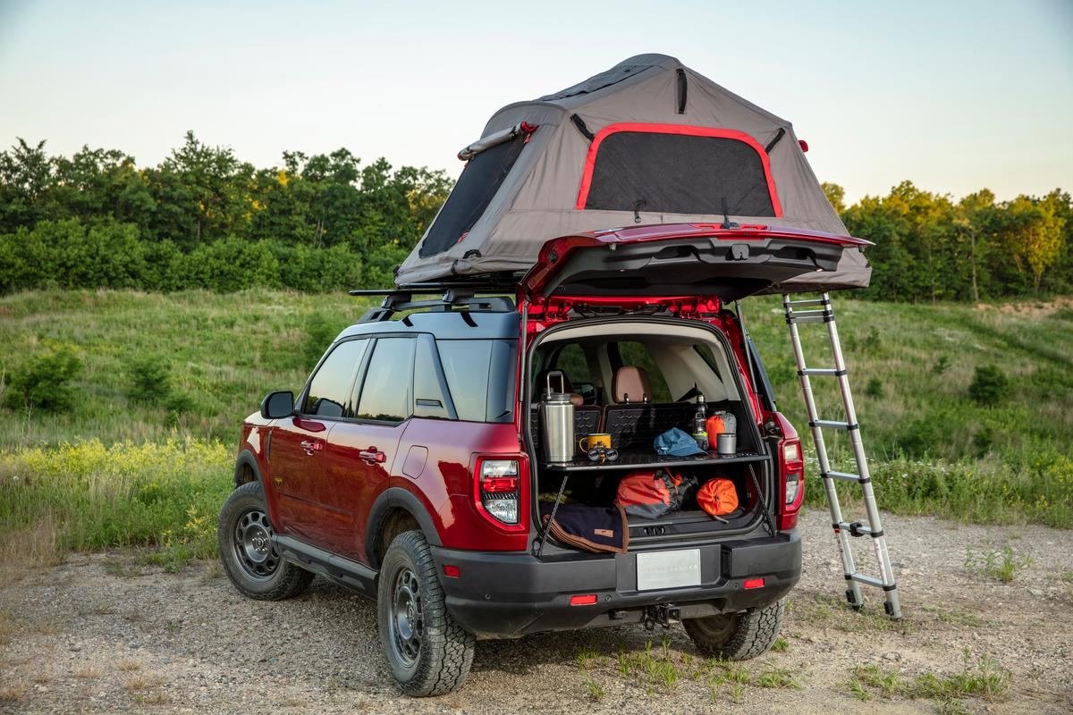 The Bronco Sport cargo management system includes a fold-out worktable