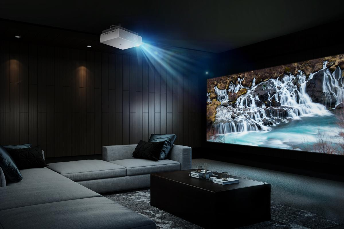 The projector features technology that auto adjusts the thrown image depending on room brightness
