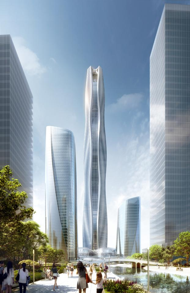 The South HeXi Yuzui Financial District Tower will have a sculpted form that's designed to mitigate the effects of the wind