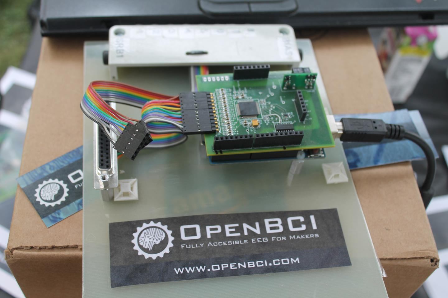 Prototype of the OpenBCI board at World Maker Faire, where it earned the Educator's Choice Award