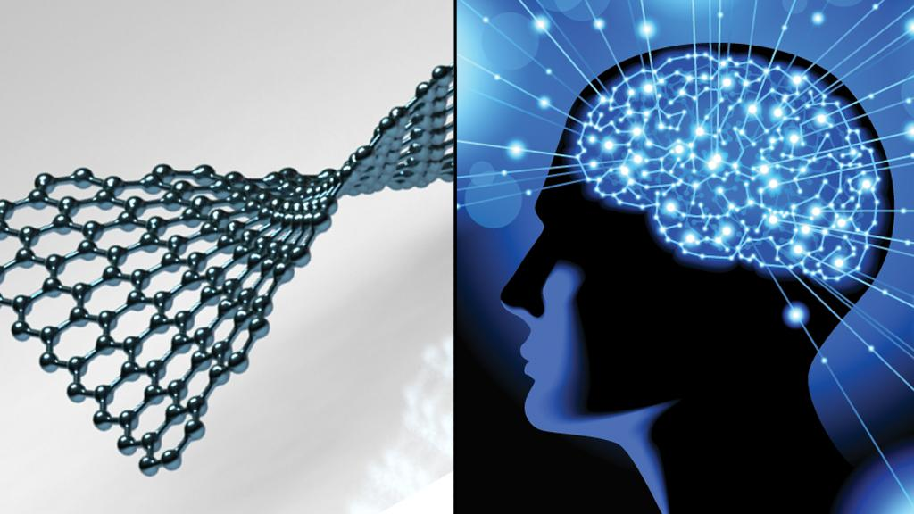 Graphene and the human brain have been selected as the research areas that could each receive around one billion euro in funding over the next 10 years (Graphene image: Conrad Gesner/Brain image: Shutterstock)