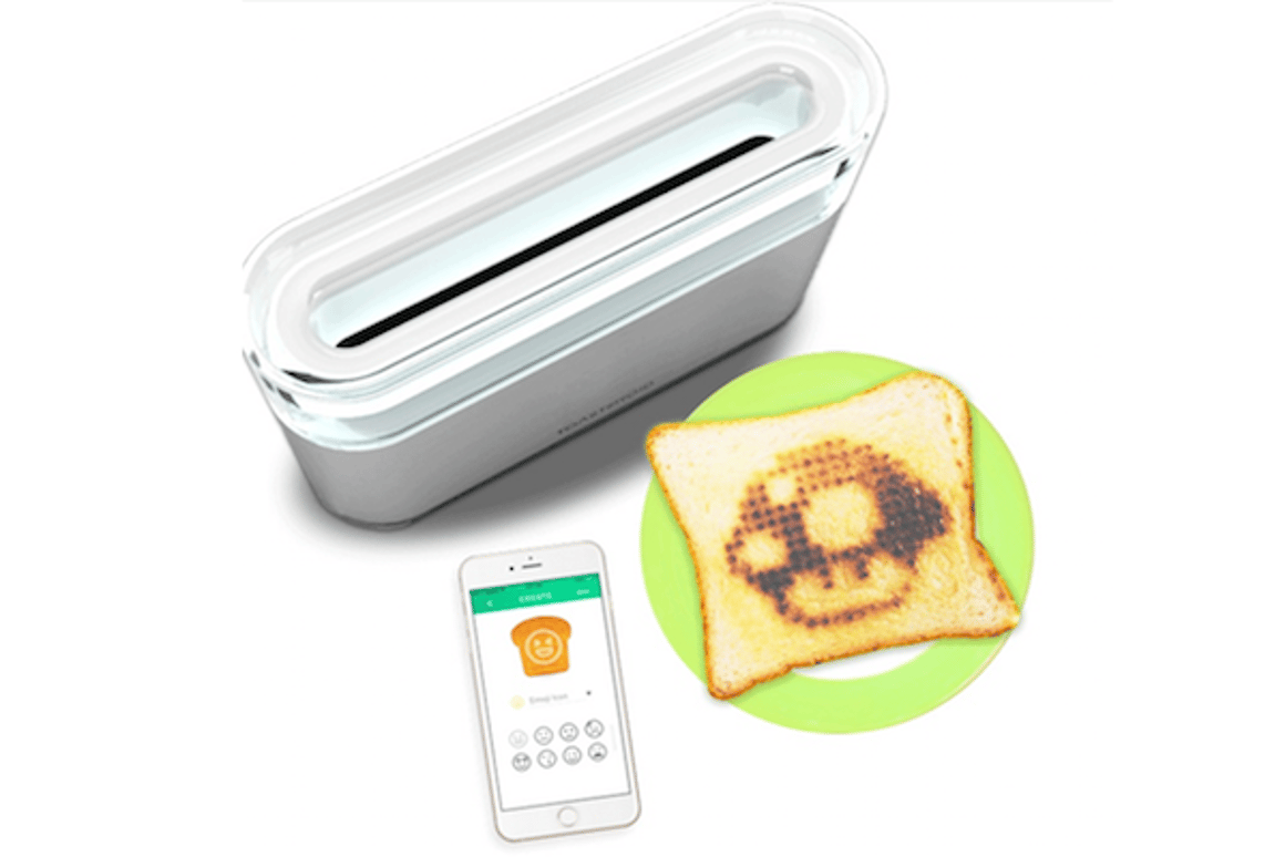 Toasteroid is a smart toaster that lets you customize your breakfast every morning, or send toast-based messages to friends
