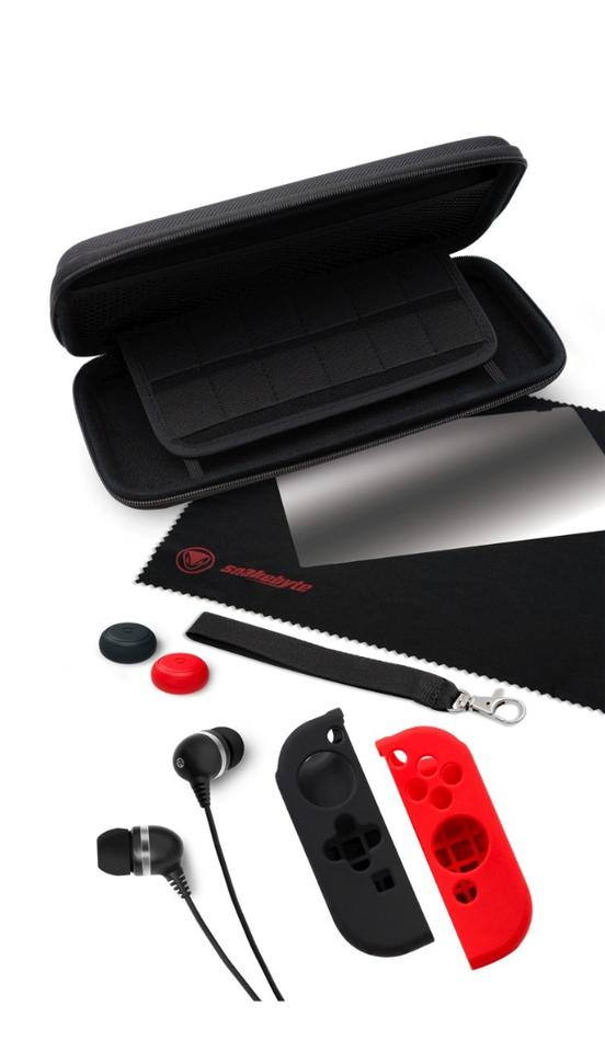 Snakebyte's Nintendo Switch Starter Kit Pro comes with a carry bag that can hold up to 12 game cartridges, a tempered glass screen protector, cleaning cloth, ear buds, rubber caps for the control sticks and silicon grips for the Joy-Cons