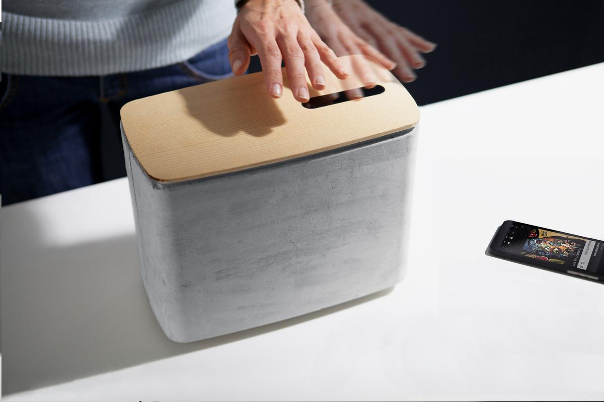 The gesture-controlled PACO concrete speaker from Digital Habit(s)