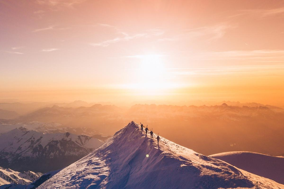 Another Nominated Entry prize winner, several skiers walk the summit of Mont Blanc before skiing down the north face