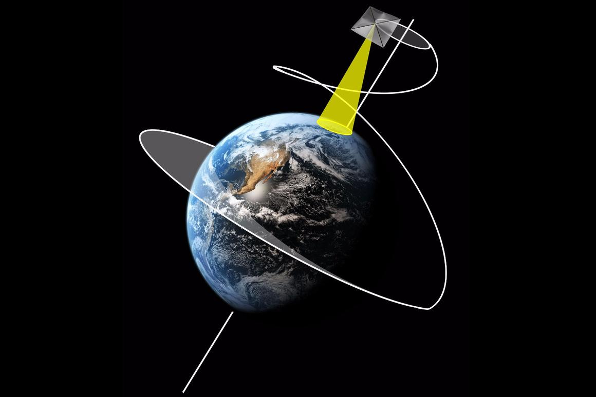 ESA's vision of how a large solar sail-equipped satellite could partly offset Earth's and the Sun's gravity with the slight but steady pressure of sunlight to hover above the Arctic or Antarctic