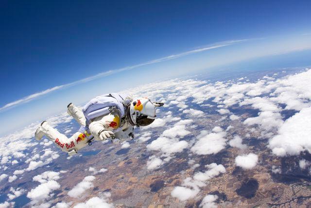 Felix Baumgartner practicing for his big, big jump