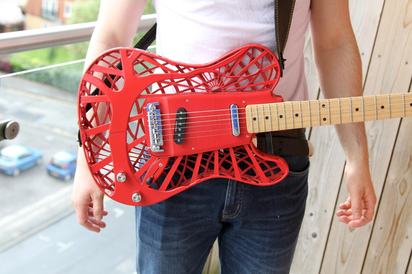 The Sunrise 3D-printed guitar is one of three stock models available from Customuse