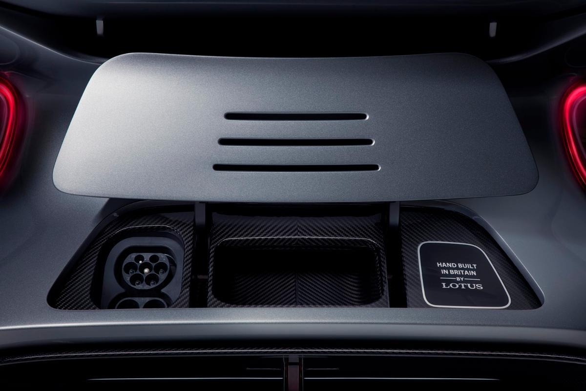 The LotusEvija's retracting charge port flap