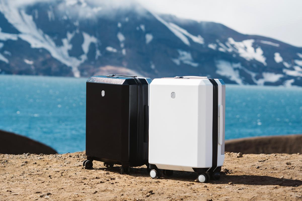 The Phoenx carry-on suitcase has a tough outer shell made from recycled polycarbonate and inner lining made from waste nylon