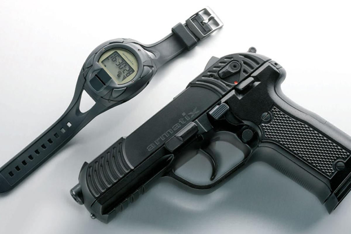 The Armatrix SmartGun concept features a handgun that won't work without authentication from the biometric wristwatch