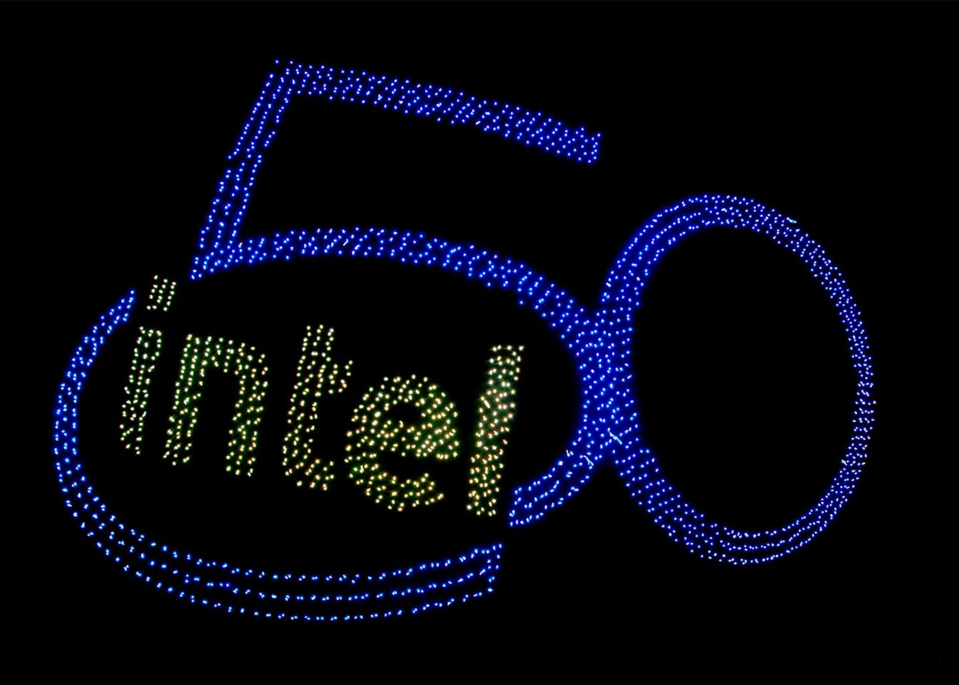 The 2,018 drones that took part in Intel's 50th birthday celebrations took the shape of the company's logo