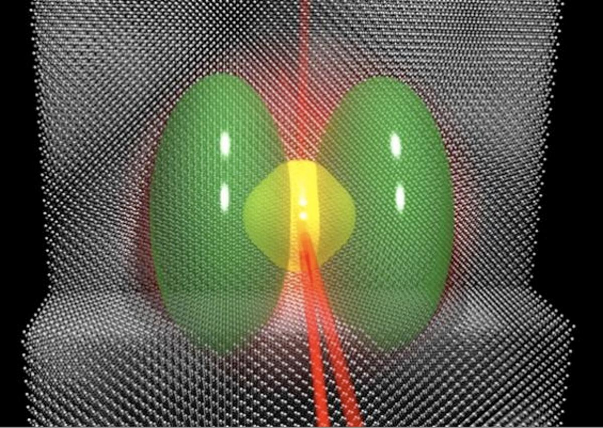 A high-energy laser pulse (red) can modify the state of a phosphorus electron (yellow) within silicon (gray) so that its density distribution becomes the one highlighted in green. The output laser beams provide information on the superposition that was just created