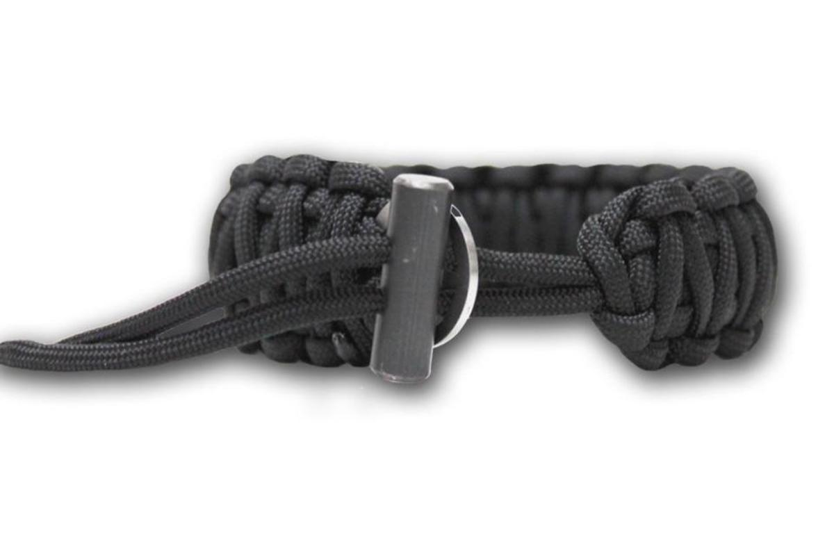 The Bison Designs Flint and Steel gives you a knife, firestarting flint and 15 feet of paracord in a bracelet