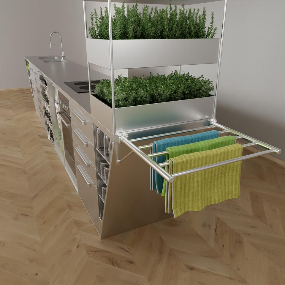 The Zero Waste Kitchen features a fold-out clothes horse for drying textile wipes