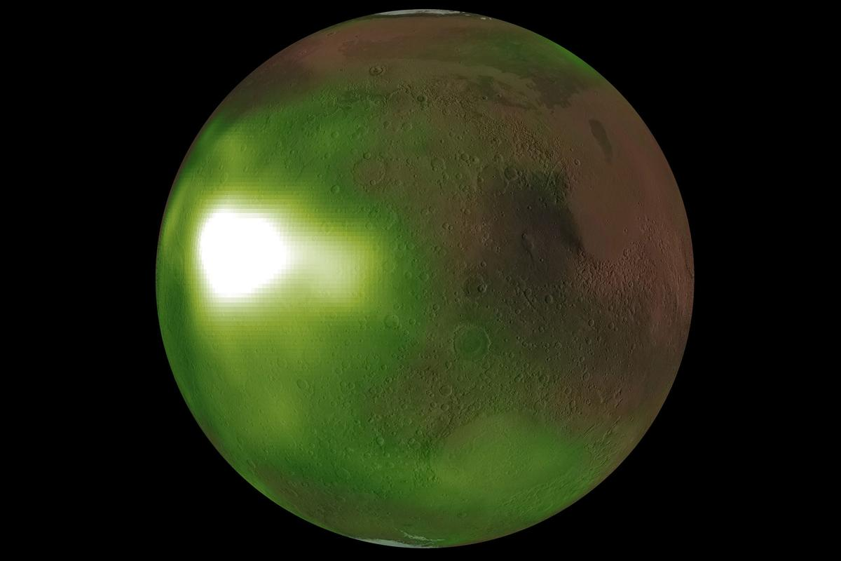 A composite image of the nightglow over Mars – the green and white is a false-color representation of the ultraviolet light emitted