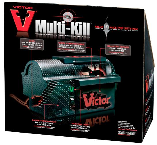 The Victor Multi-Kill Electronic Mouse Trap humanely zaps rodents dead in less than three seconds