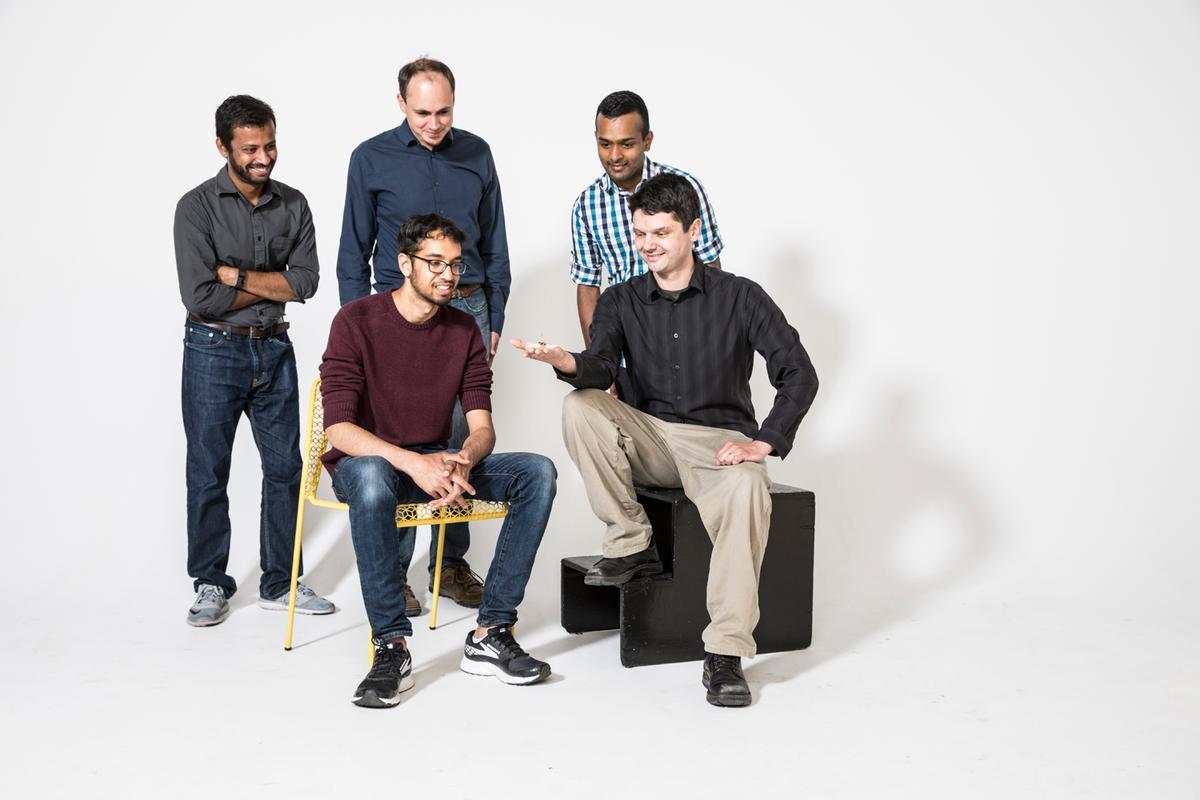 The RoboFly team –Back row (left to right): Yogesh Chukewad, Sawyer Fuller, Shyam Gollakota; Front row: Vikram Iyer, Johannes James