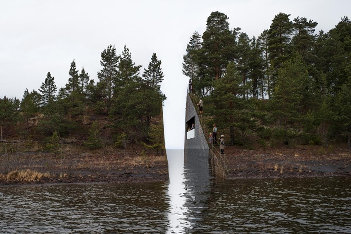 A memorial for the victims of Norway's July 22 terror attack will see a slice of land removed from the Sørbråten headland (Image: Jonas Dahlberg Studio, courtesy of KORO / Public Art Norway)