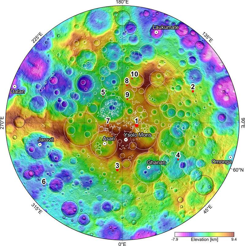 View of the North Pole with colors showing the varying height of Ceres' landscape