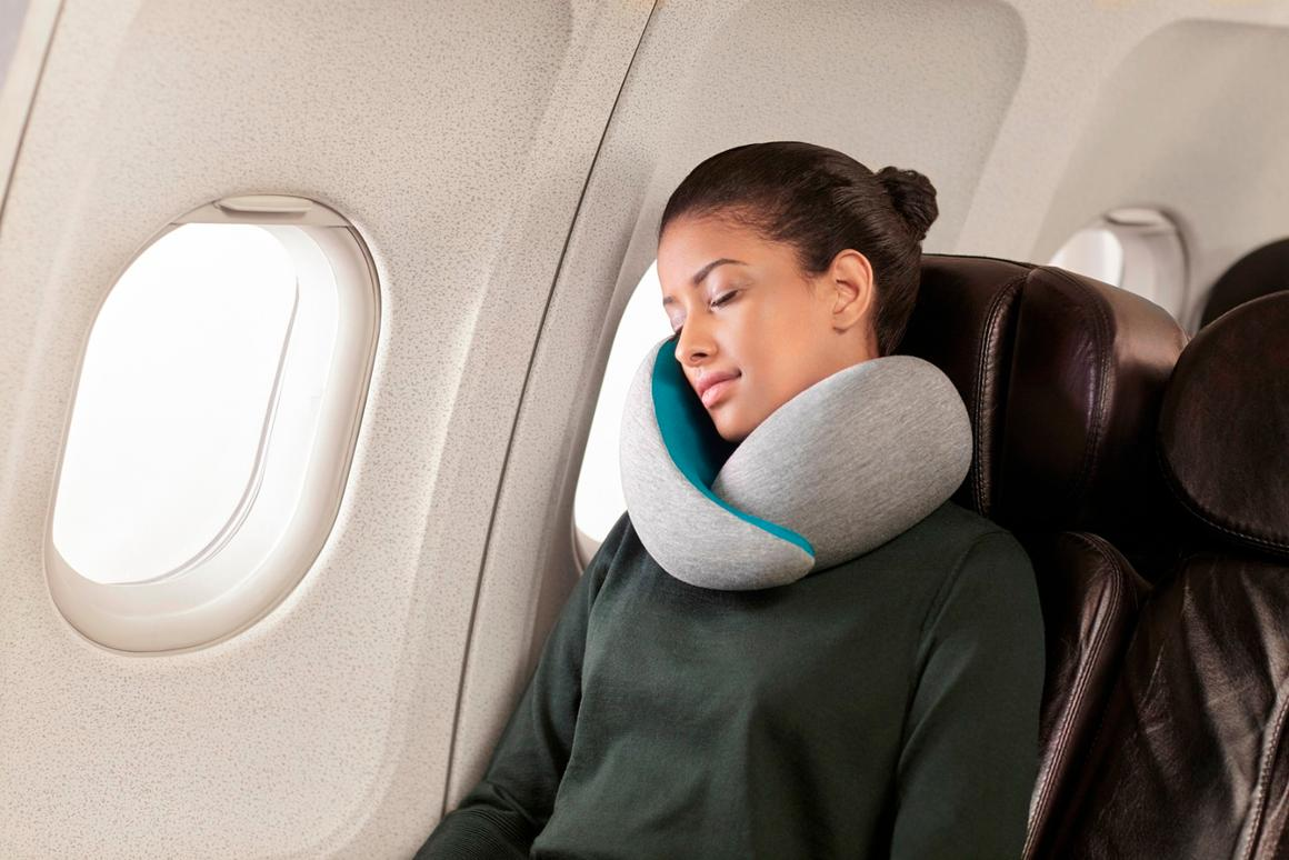 The Ostrich Pillow Go is a travel pillow thatis fitted around the user'sneck