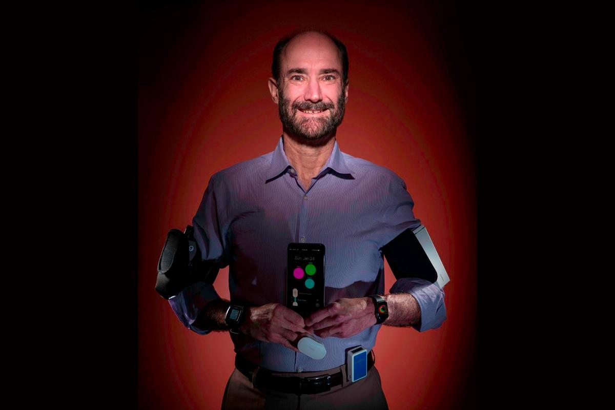 Stanford's Michael Snyder and a suite of biosensors that helped him determine he was sick before symptoms even began.