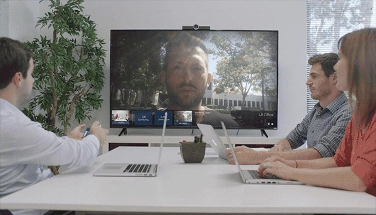 Hello can host video conference calls with people on other Hello devices, or through any smart device or webcam